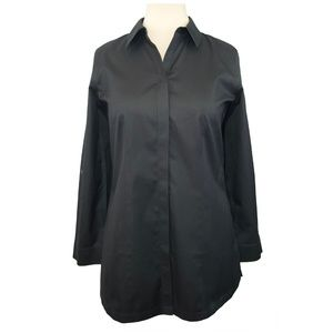 Chico's size 1 Long button-front tunic shirt.